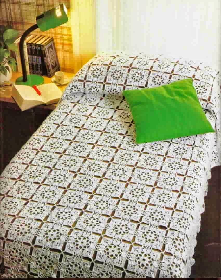 Manta para cama tejida ganchillo