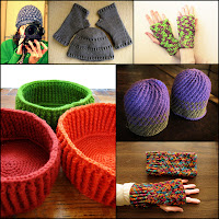 Various hats, fingerless mitts and baskets with cabled or textured stitching