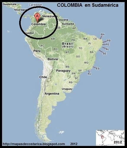 Relieve. Ubicación de COLOMBIA en Sudamérica