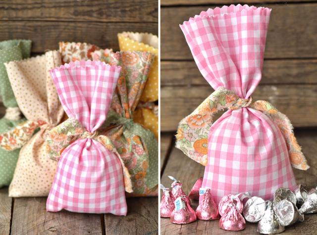 mariages r tro sachets de tissu sans coutures pour cadeaux aux invit s. Black Bedroom Furniture Sets. Home Design Ideas
