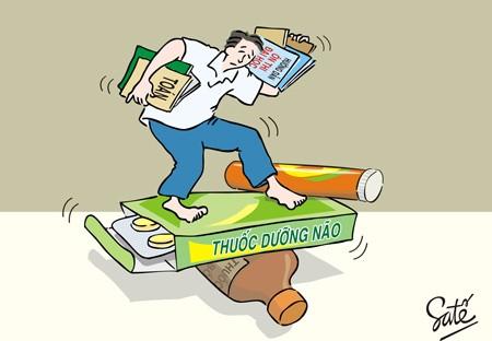 Biếm họa về việc học quá nhiều