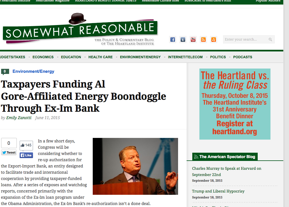 "June 11, 2015: ""Taxpayers Funding Al Gore-Affiliated Energy Boondoggle Through Ex-Im Bank"""