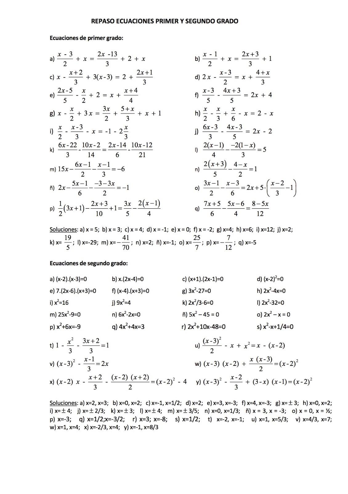 Matem ticas 4 eso ejercicios con soluci n sobre for Ecuaciones de cuarto grado