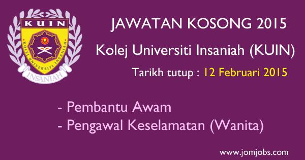 Jawatan Kosong Kolej Universiti Insaniah (KUIN) 2015 Terkini