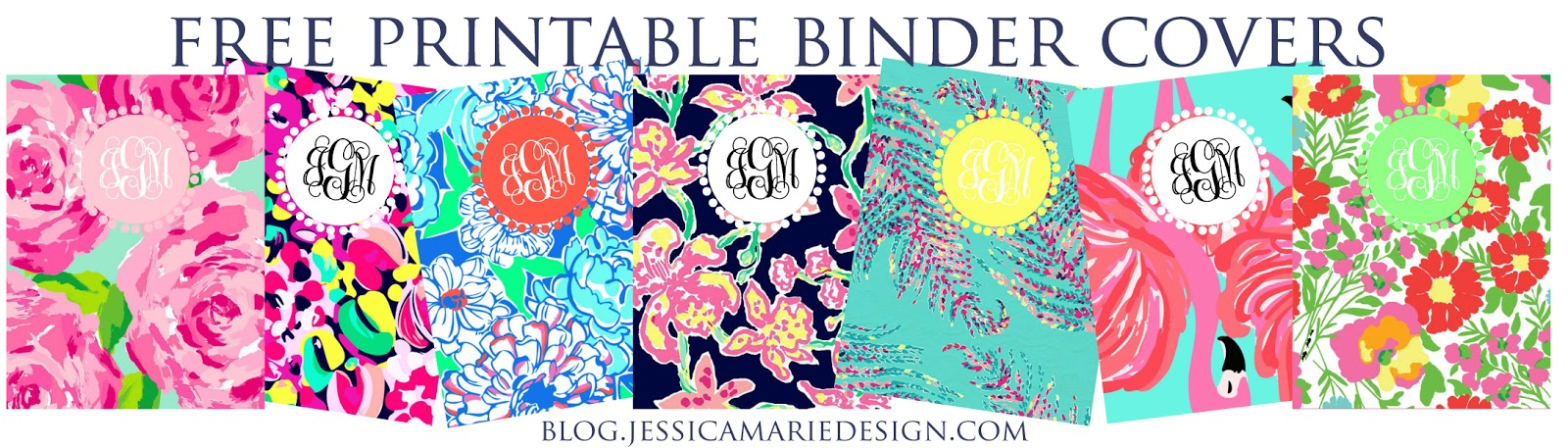 Lilly Pulitzer Binder Cover Templates | Jessica Marie Design Blog Preppy Printable Binder Covers