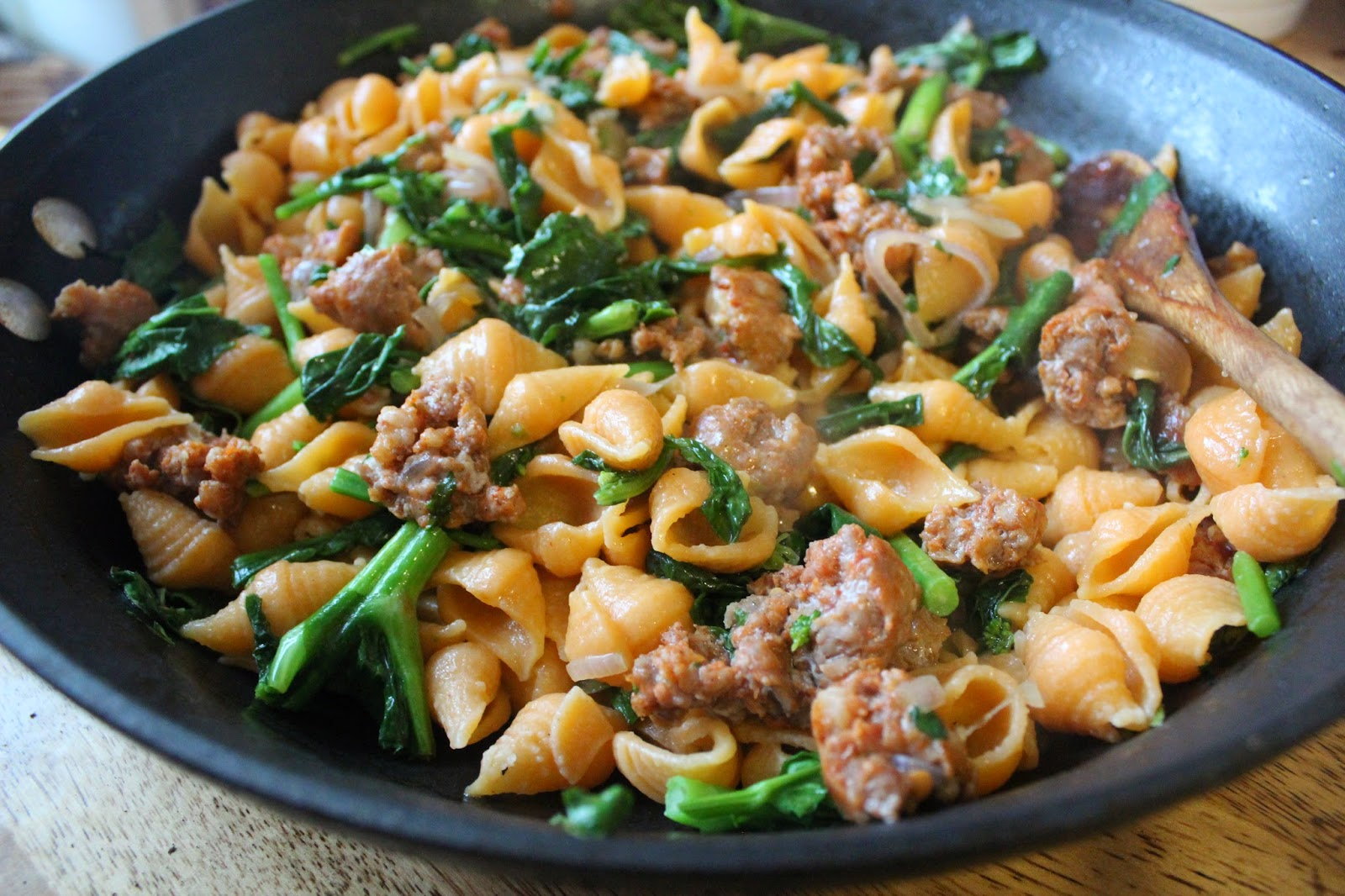 Broccoli Rabe Three Ways: Roasted Red Pepper Pasta with Broccoli Rabe and Spicy Sausage
