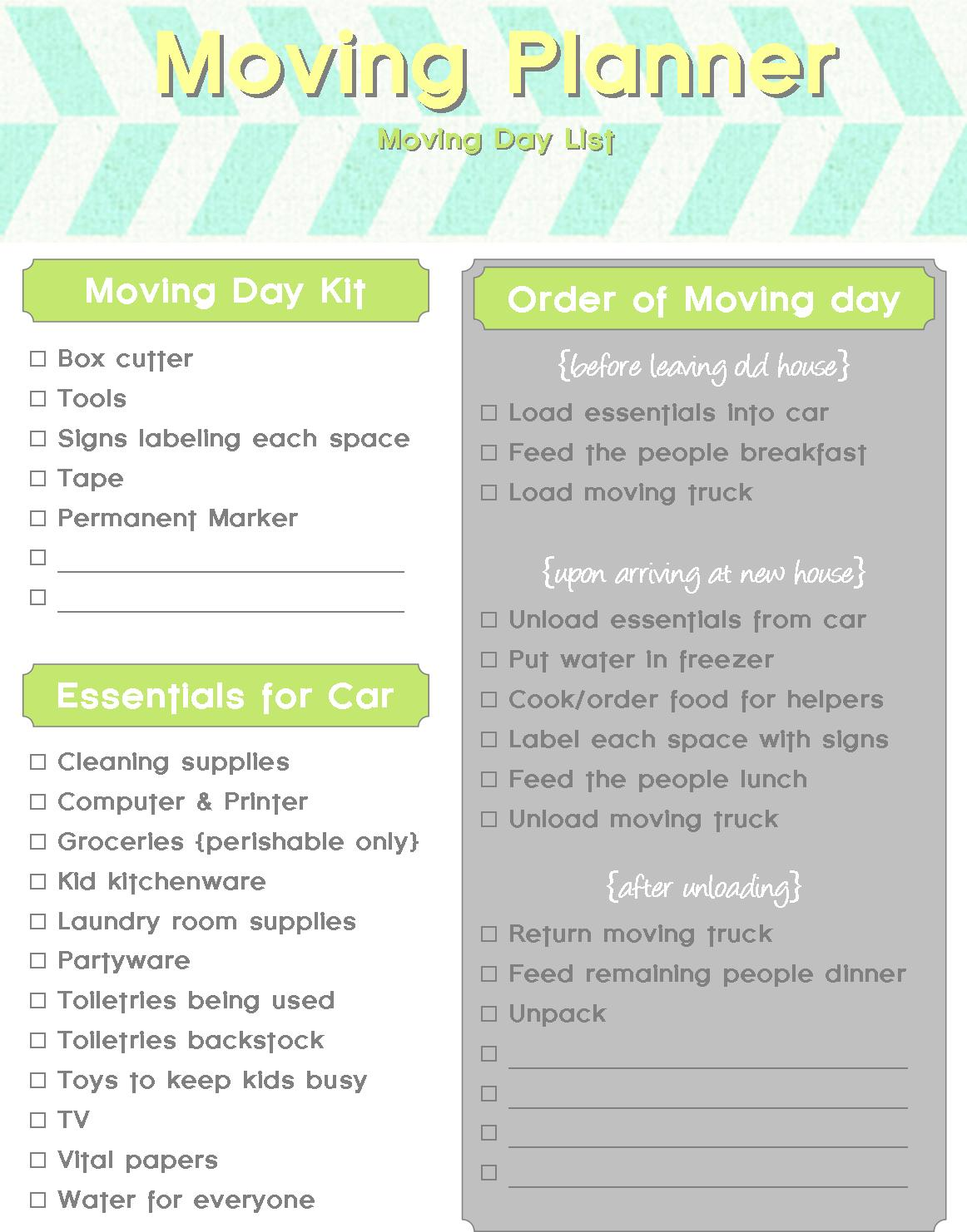Adorable image pertaining to printable moving checklist and planner
