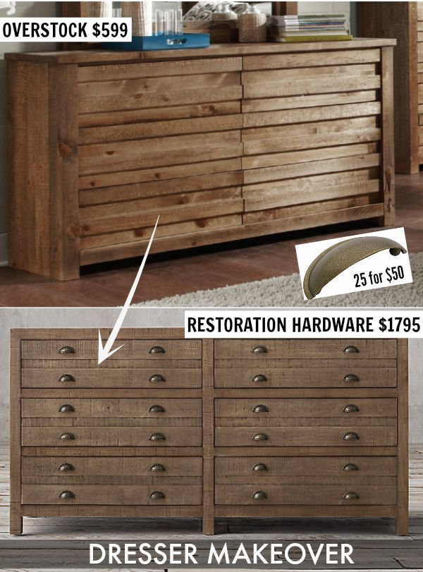 Transform a less expensive wooden Overstock dresser into a RH look-a-like with the addition of drawer pulls! Easy!