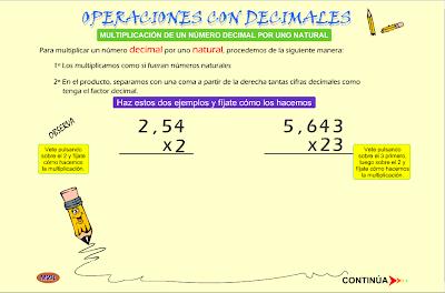 Multiplicación de un número decimal por uno natural, decimales, multiplicación