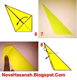 cara membuat dan membentuk badan origami burung merak