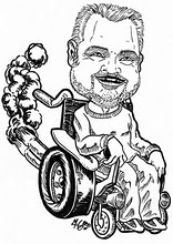 caricature line drawing of Mike Ervin in a wheelchair