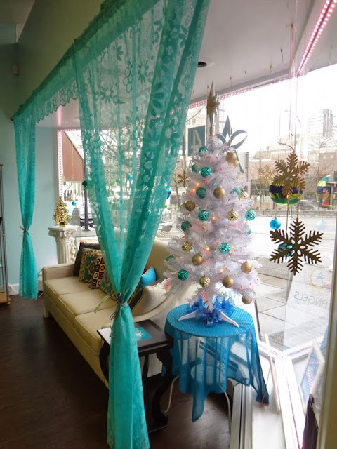 Interior of 4 Angels Beauty Care, Inc, with their Christmas decorations up!