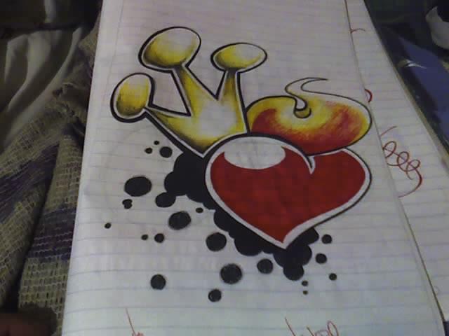 Dibujos pintados a lapiz de corazones - Imagui