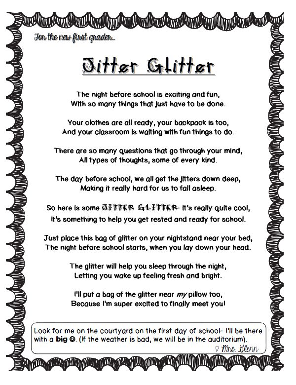 It's just a picture of Lucrative Jitter Glitter Poem Printable