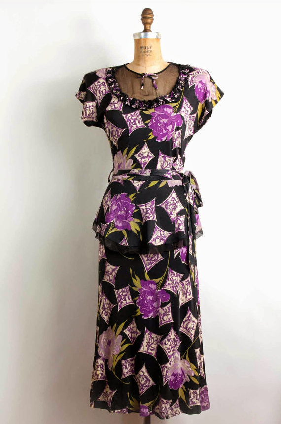 Novelty Print 1940s peplum dress with sheer neckline