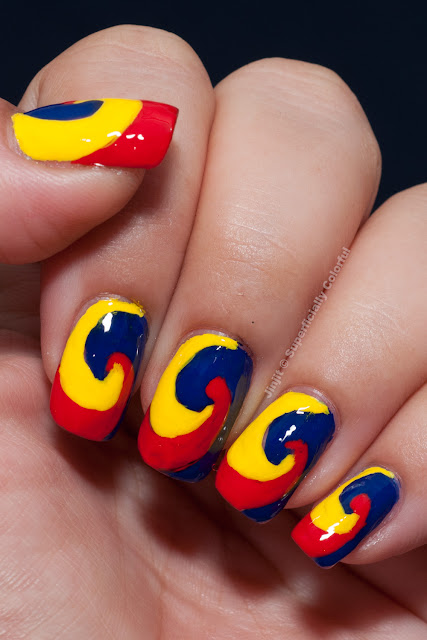 Orly Sunshine Fiery Red True Blue Freehand
