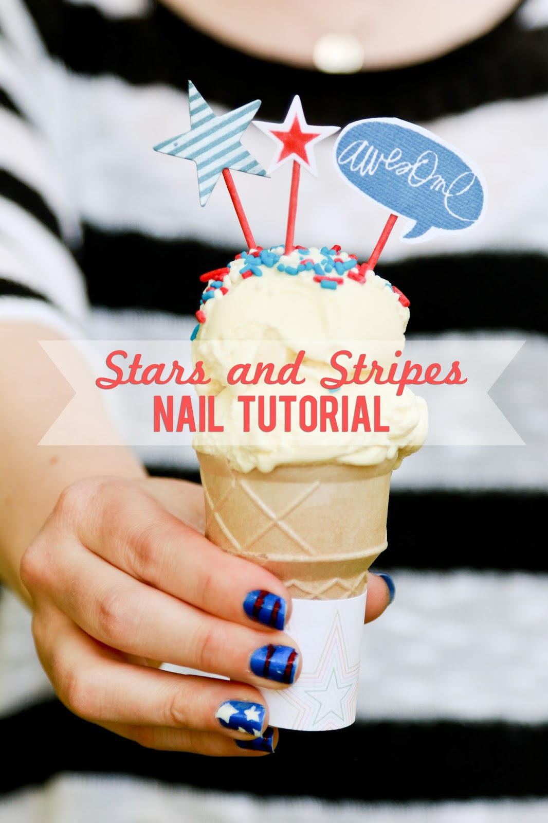 Awesome Stars and Stripes Nail Tutorial @craftysavvy @createoften #craftwarehouse #nailart #naildesigns #diy