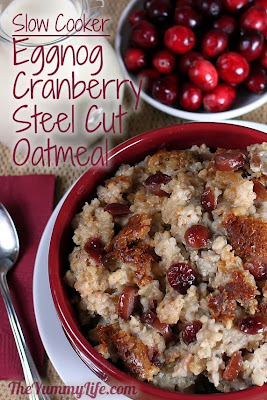 Overnight Slow Cooker Eggnog Cranberry Steel Cut Oatmeal from The Yummy Life featured on SlowCookerFromScratch.com