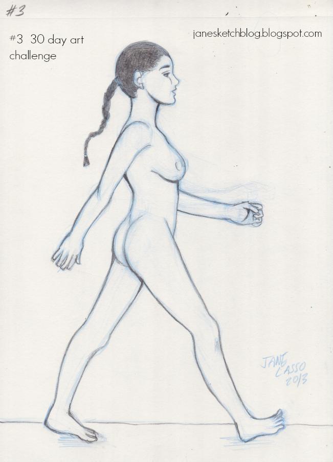 Dibujo desnudo artistico de chica caminando