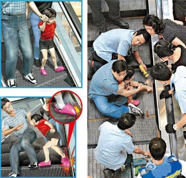 be careful especially about kids while using escalator