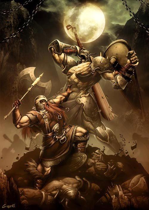 Gonzalo Ordóñez Arias genzoman deviantart illustrations fantasy games monsters mythology gods Dwarf vs. Orc