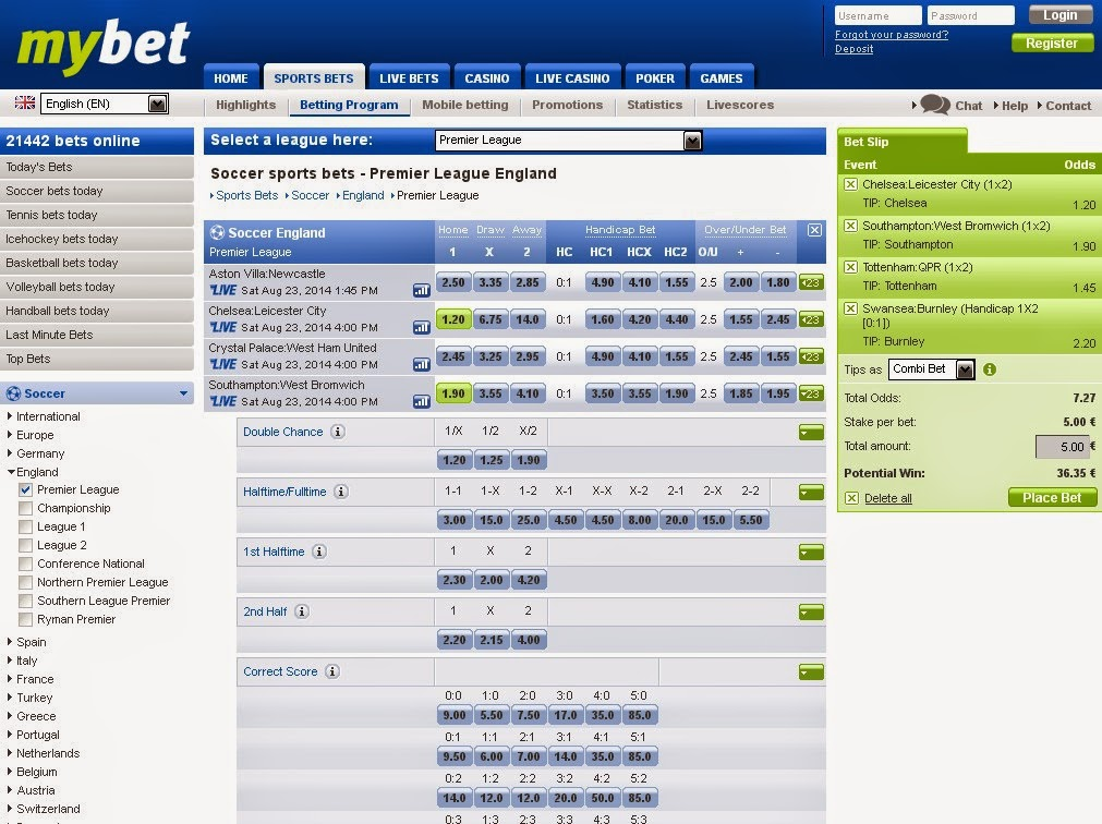 Mybet Sportsbook Screen