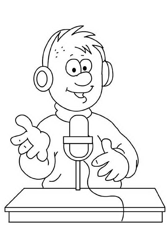 COLOREA TUS DIBUJOS: Locutor de Radio para colorear y pintar