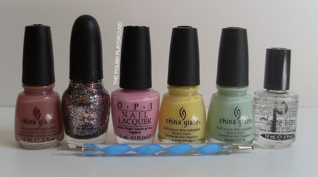 China Glaze, Sephora by OPI, OPI. Seche Vite, dotting tool