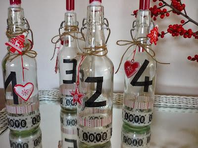 Adventskranz rot Flaschen Maskingtape