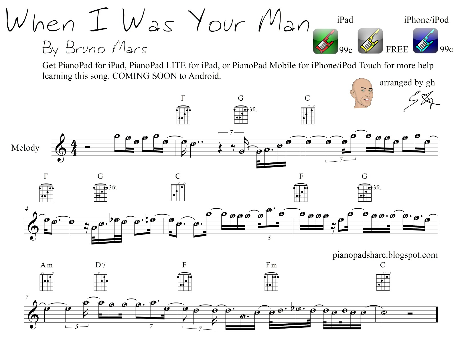 PianoPad Upload Community: u0026quot;When I Was Your Manu0026quot; by Bruno Mars - uploaded by GH