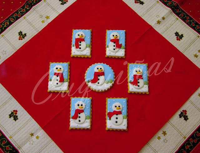 Galletas decoradas muñeco de nieve