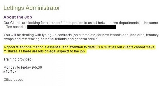 Lettings Administrator job advert with spelling error