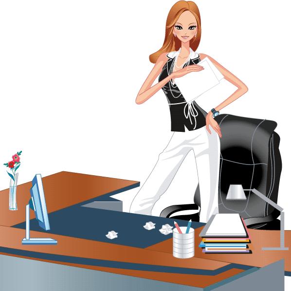Mujer Trabajadora Negocios - Vector