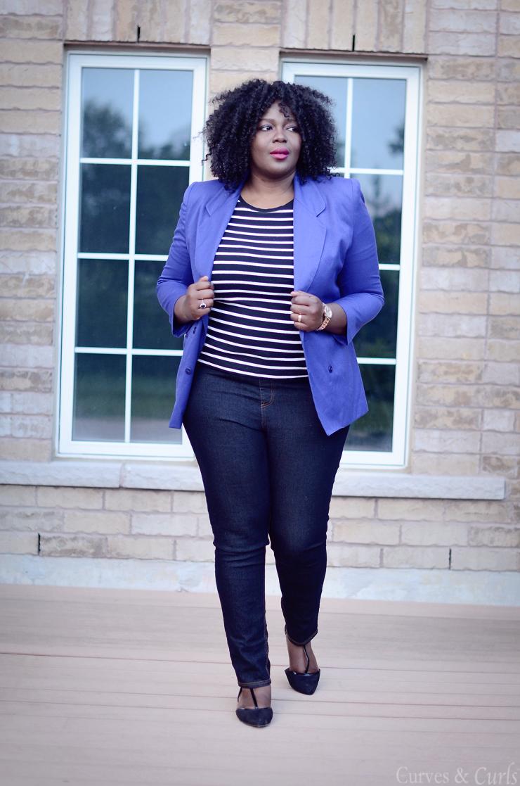 How to build a remixable closet #Plussize #stripes #curves #blazer
