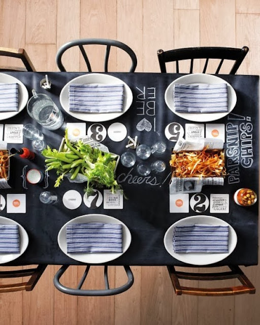 black and white beer tasting parties chalkboard table
