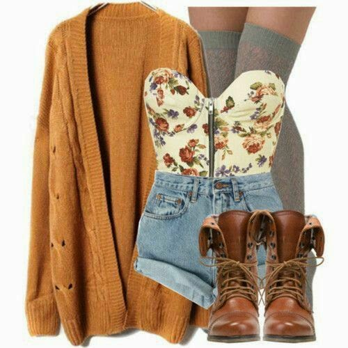 brown combat boots fall outfit with Shorts