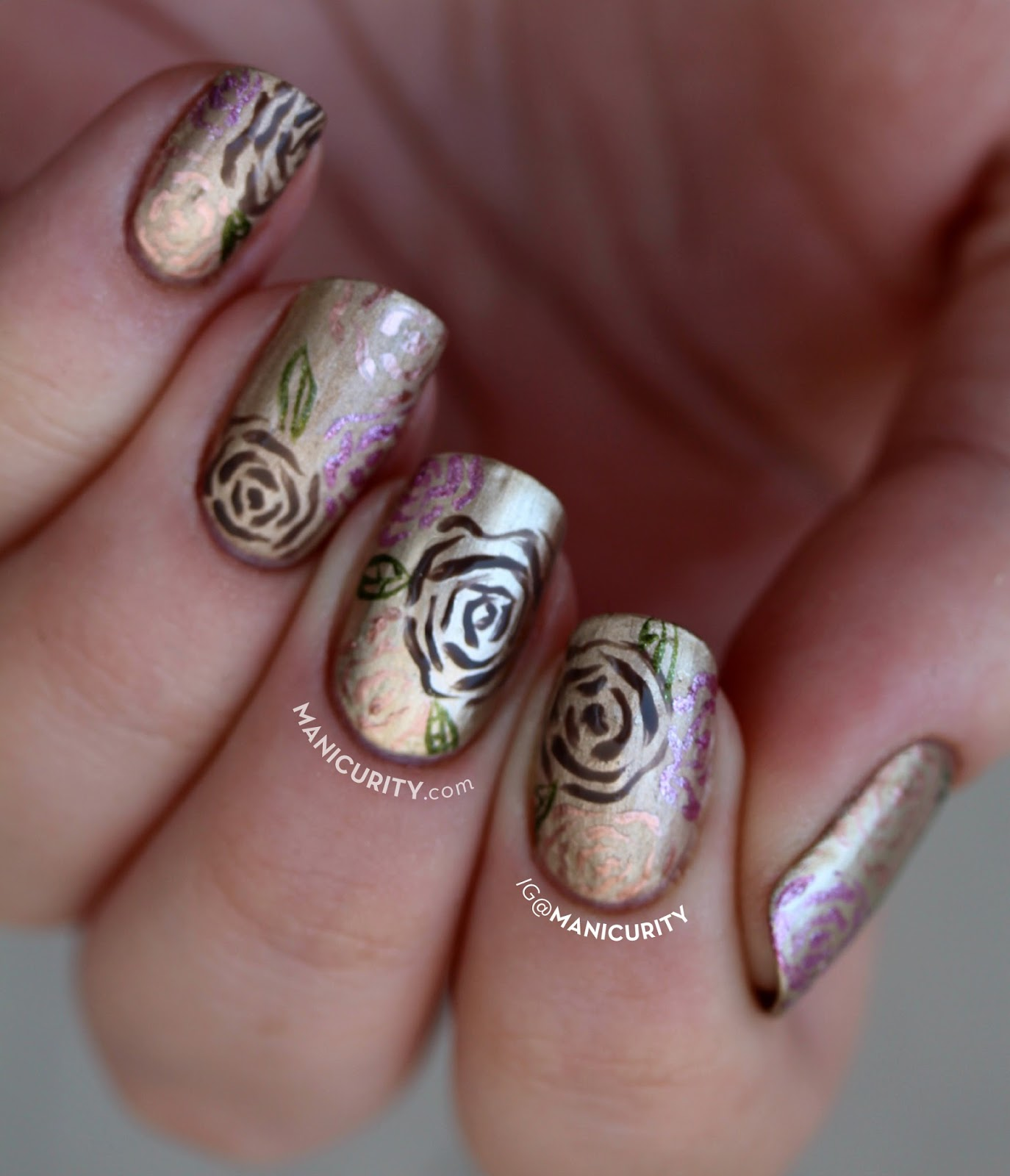 The Digit-al Dozen does Metal Nail Art: Black Hills Gold Inspired Freehand Floral Nails on #ManiMonday | Manicurity.com