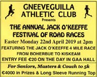 4 mile race in NW Cork - Mon 22nd Apr 2019