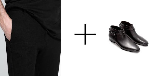 pantalon de algodon y botines en color negro