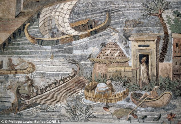 A Roman mosaic depicting the flooding of the Nile from the 1st century BC. Researchers say beliefs about the impact of Nile floods on fertility may explain birth patterns in the region