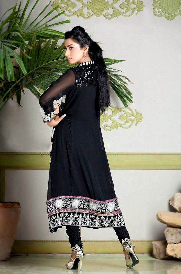 BLACK CHIFFON SHIRT WITH EMBROIDERED LACE AND NET SLEEVES AND CHURIDAR