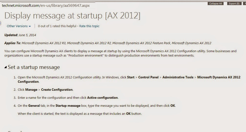 Display message at startup [AX 2012]
