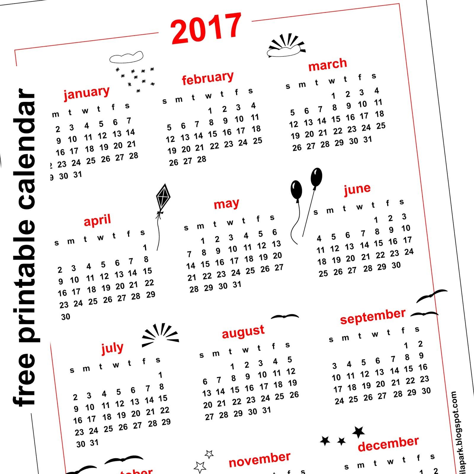 2017 Calendar A5 - Free Calendars 2017