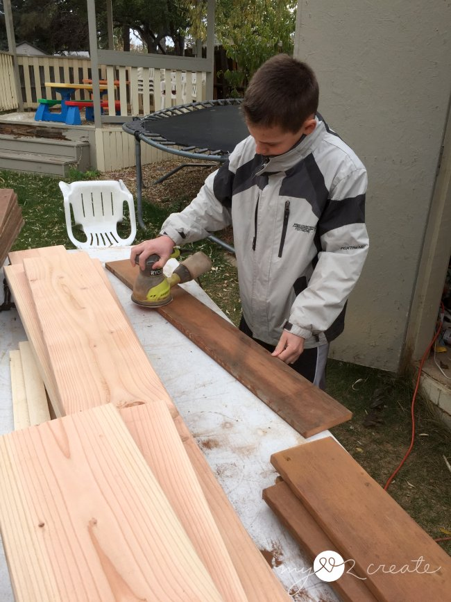 sanding the bed slats