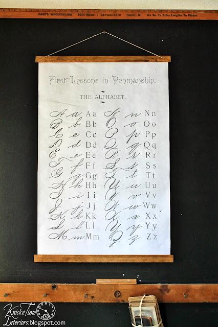 DIY Antique School Wall Chart with Alphabet Script Handwriting