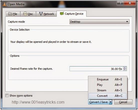 Use VLC media player as desktop recorder