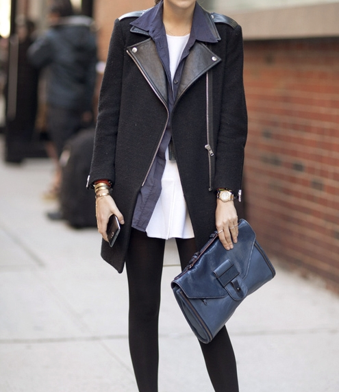 Black coat with leather sleeve