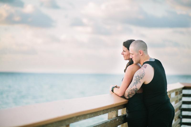 juno beach sunrise pier proposal engagement photography