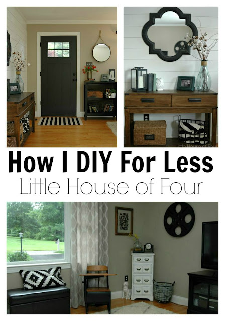{DIY For Less} a thrifty entryway and Living Room Makeover - via Little House of Four