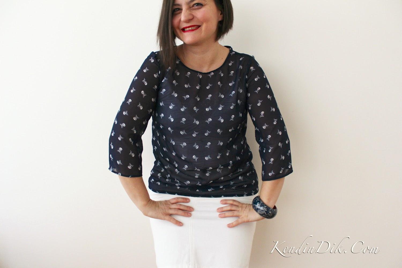 şifon bluz mavi kurukafa blog dikiş blogları